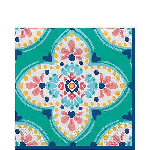 Boho Vibes Floral Quatrefoil Lunch Napkins, 6.5in, 16ct Image #1
