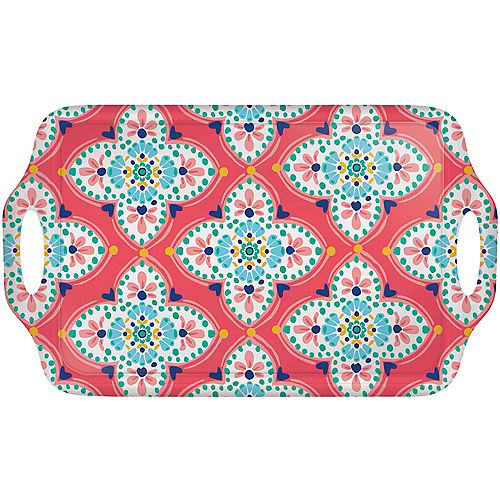 Boho Vibes Floral Quatrefoil Melamine Serving Tray Image #1