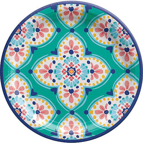 Boho Vibes Floral Quatrefoil Paper Dinner Plates, 10.5in, 8ct Image #1