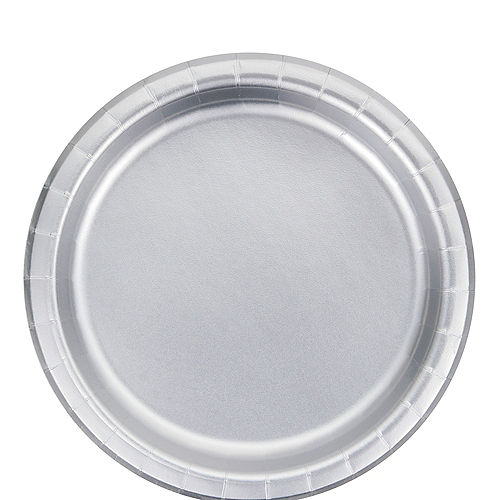 Metallic Silver Lunch Plates 8ct Image #1