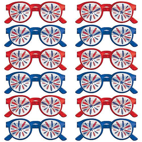 Patriotic Navy & Red Printed Glasses 12ct Image #1