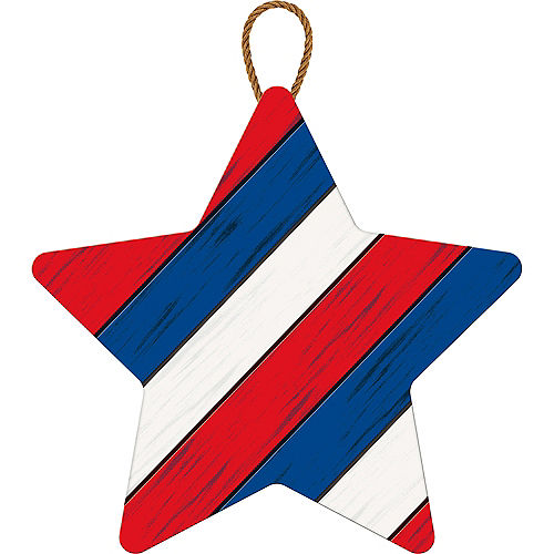 Rustic Patriotic Striped Star Sign Image #1