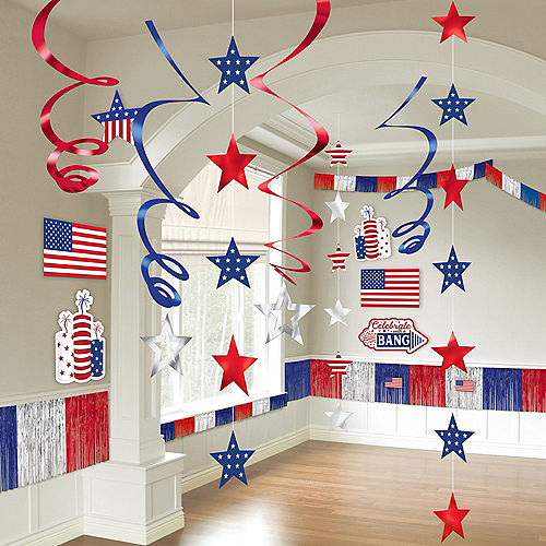Patriotic Navy & Red Room Decorating Kit 21pc Image #1