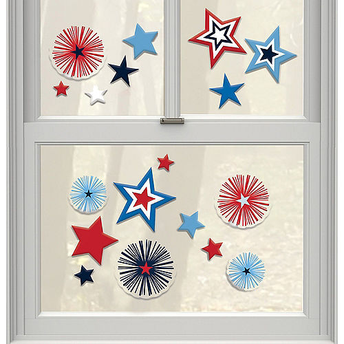 Patriotic Navy & Red Star Gel Cling Decals 18ct Image #1