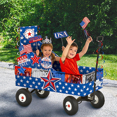 Patriotic Navy & Red Wagon Float Kit 12pc Image #1