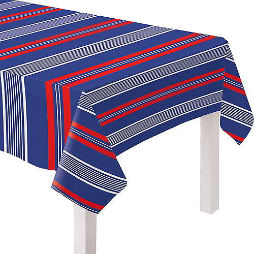 Navy, Red & White Striped Fabric Tablecloth Image #1