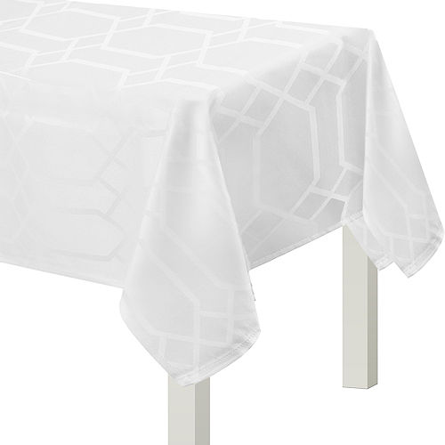 White Hexagon Damask Fabric Tablecloth, 60in x 104in Image #1
