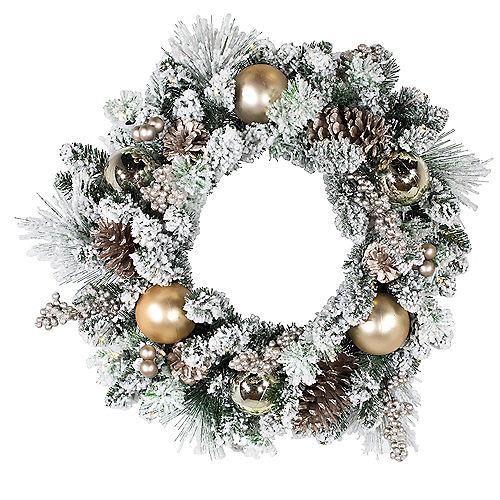 Kurt Adler Light-Up LED Flocked Ornament & Pinecone Wreath Image #1