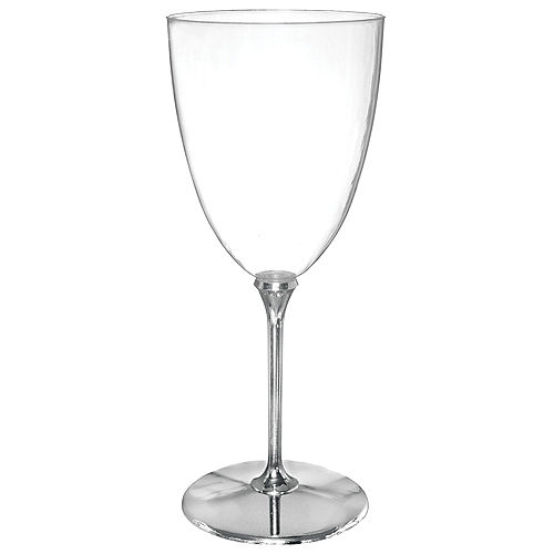 CLEAR Silver-Base Premium Plastic Wine Glasses Image #1