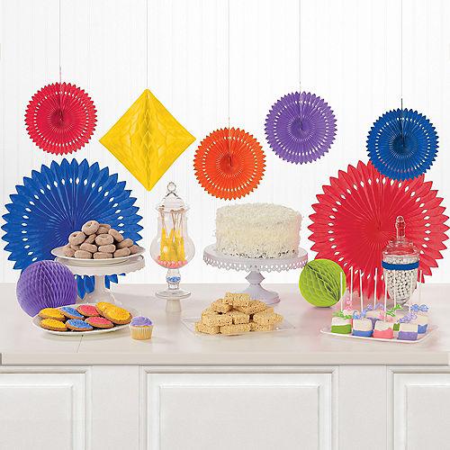 Rainbow Paper Fan & Honeycomb Decorations, 9pc Image #1