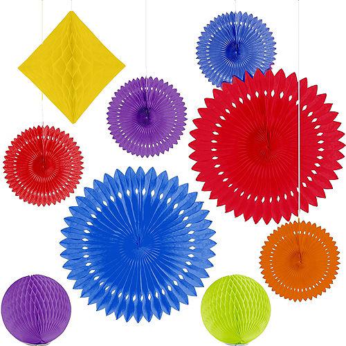 Rainbow Paper Fan & Honeycomb Decorations, 9pc Image #2