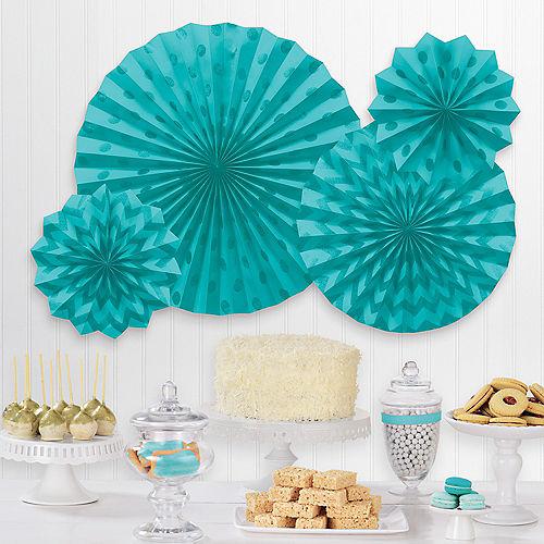 Glitter Caribbean Blue Polka Dot & Chevron Paper Fan Decorations, 4ct Image #1