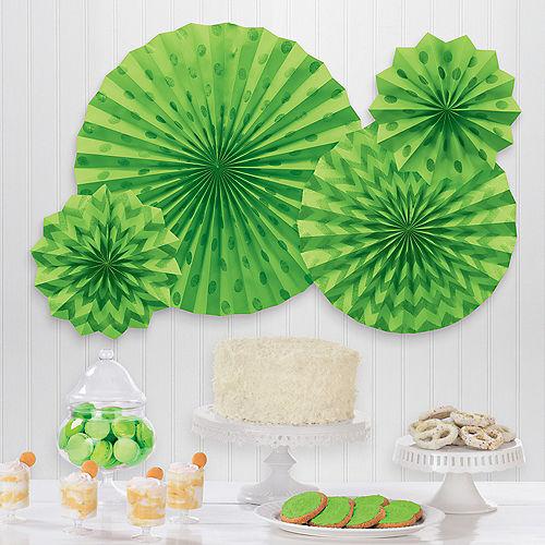 Glitter Kiwi Green Polka Dot & Chevron Paper Fan Decorations, 4ct Image #1