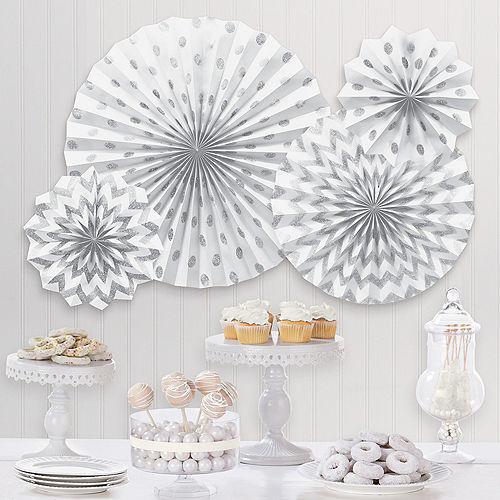 Glitter White & Silver Polka Dot & Chevron Paper Fan Decorations, 4ct Image #1