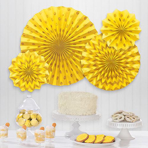 Glitter Sunshine Yellow Polka Dot & Chevron Paper Fan Decorations, 4ct Image #1