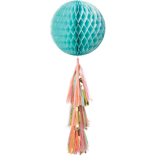 Pastel & Metallic Gold Honeycomb Ball Decoration with Tail, 11 1/2in x 27 1/2in Image #1