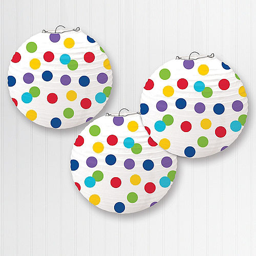 Rainbow Dotted Paper Lanterns, 9 1/2in, 3ct Image #1