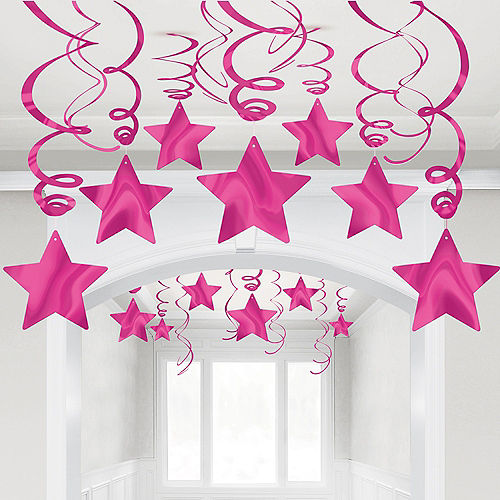 Bright Pink Star Swirl Decorations, 30ct Image #1
