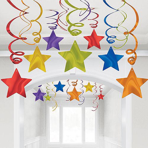 Rainbow Star Swirl Decorations, 30ct Image #1
