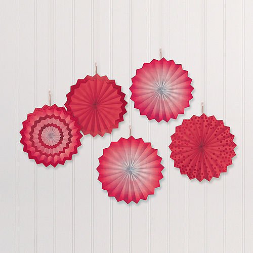 Red Mini Paper Fan Decorations, 6in, 5ct Image #1