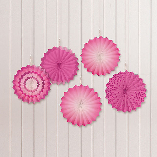 Bright Pink Mini Paper Fan Decorations, 6in, 5ct Image #1