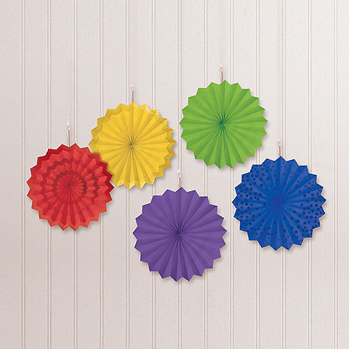 Rainbow Mini Paper Fan Decorations, 6in, 5ct Image #1