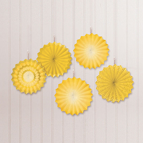 Sunshine Yellow Mini Paper Fan Decorations, 6in, 5ct Image #1