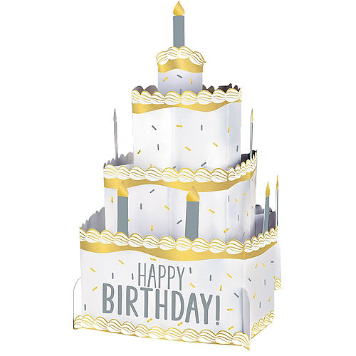 Gold & Silver Birthday Cake Pop-Up Centerpiece Image #1