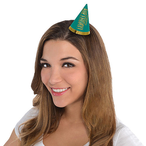 Mini Gold & Rainbow Birthday Celebration Party Hats 12ct Image #2