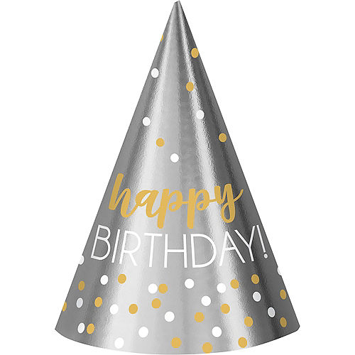 Metallic Gold & Silver Confetti Birthday Party Hats 12ct Image #1