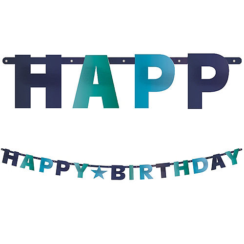 Metallic Shades of Blue Happy Birthday Letter Banner Image #1