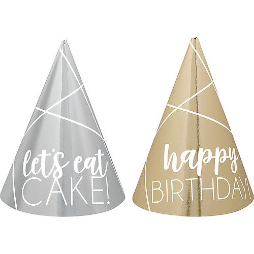 Mini Metallic Gold & Silver Birthday Party Hats 12ct Image #1