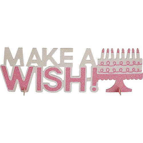 Pink Glitter Make A Wish Birthday Centerpiece Image #1