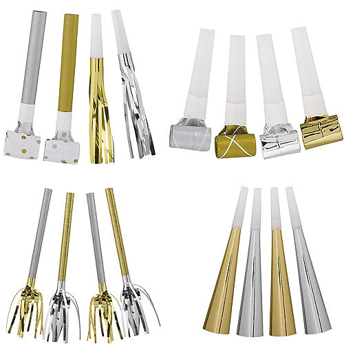 Metallic Gold & Silver Noisemakers  50pc Image #1