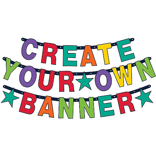 Create Your Own Rainbow Celebration Letter Banner Kit 84pc Image #1