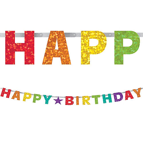 Prismatic Rainbow Birthday Banner Image #1