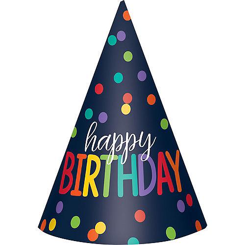 Navy & Rainbow Happy Birthday Party Hats 12ct Image #1