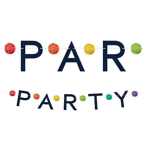 Rainbow Pom-Pom Party Letter Banner Image #1