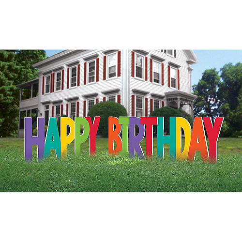 Rainbow Happy Birthday Plastic Yard Sign Phrase Set, 12.25in Letters, 4pc Image #1