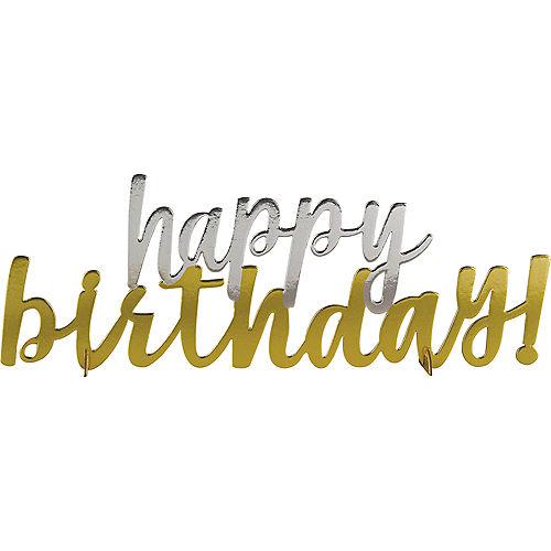 Metallic Gold & Silver Happy Birthday Centerpiece Image #1