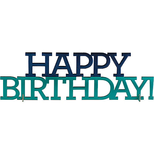 Metallic Shades of Blue Happy Birthday Centerpiece Image #1