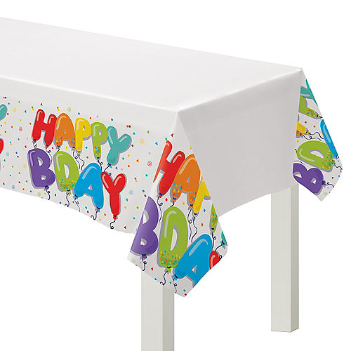 Birthday Balloons Plastic Table Cover Image #1