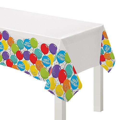 Balloon Birthday Celebration Plastic Table Cover 3ct Image #1