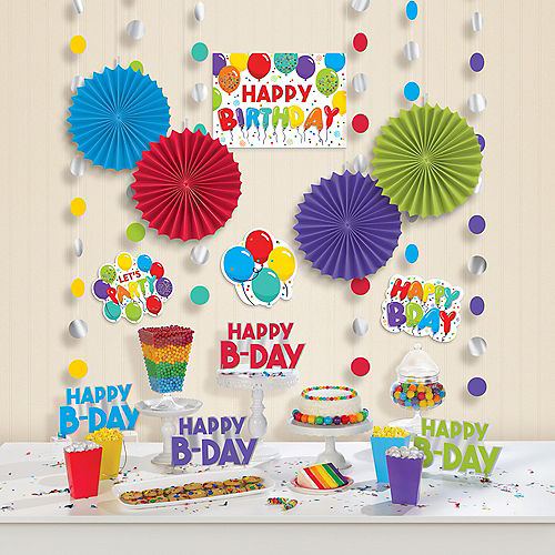 Birthday Balloons Room Decorating Kit 18ct Image #1