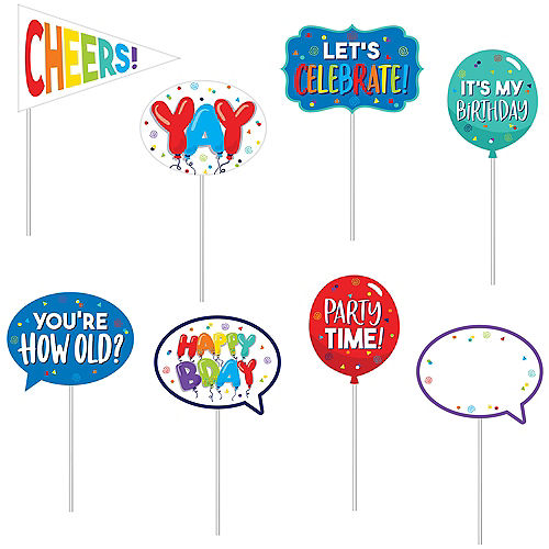 Birthday Balloons Scene Setter with Photo Booth Props 23pc Image #2