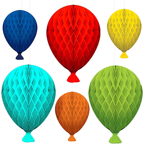 Birthday Balloons Honeycomb Decorations 6ct Image #1
