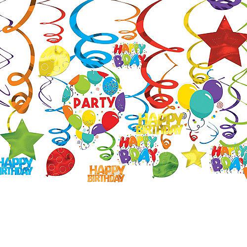 Birthday Balloons Swirl Decorations  24ct Image #1