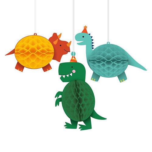 Dino-Mite Dinosaur Honeycomb Decorations 3ct Image #1