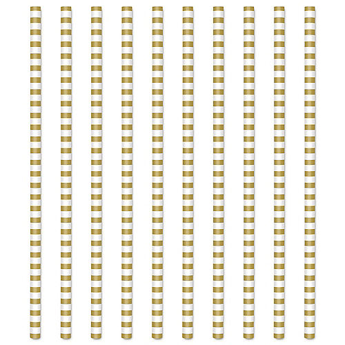 Gold & White Striped Paper Drink Stirrers, 5.5in, 75ct Image #1