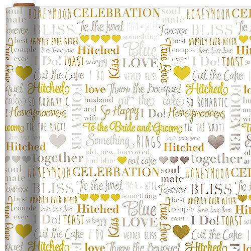 Metallic Wedding Word Cloud Gift Wrap Image #1